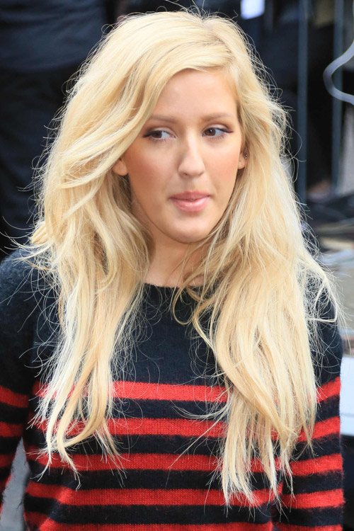 Ellie Goulding Straight Platinum Blonde Messy Hairstyle
