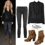Ellie Goulding: Sheer Blouse, Leopard Boots