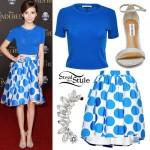 G. Hannelius: Blue Top, Polka Dot Skirt