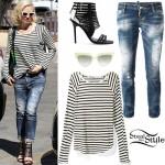 Gwen Stefani: Striped Top, Ripped Jeans