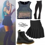 Halsey: Sequin Crop Top, Pleated Skirt