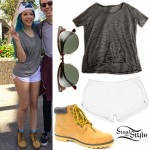 Halsey: Striped Baggy Tee, White Shorts