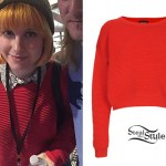 Hayley Williams: Red Ribbed Sweatshirt
