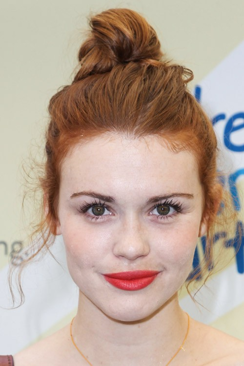 Holland Roden Wavy Ginger Bun Messy Updo Hairstyle