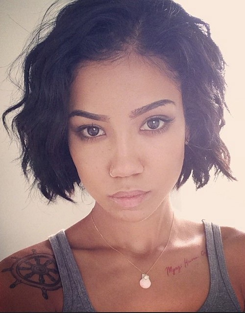 Jhene Aiko Wavy Black Bob Hairstyle Steal Her Style