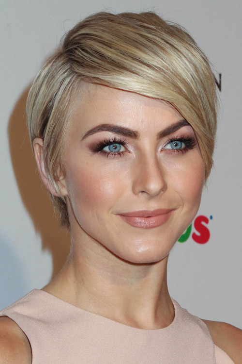 Julianne Hough Straight Ash Blonde Sideswept Bangs Hairstyle  Steal Her Style