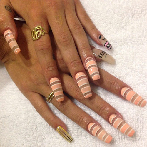Lil Debbie Nails: Lil Debbie Clear, Peach, White Foil Stripes, Negative