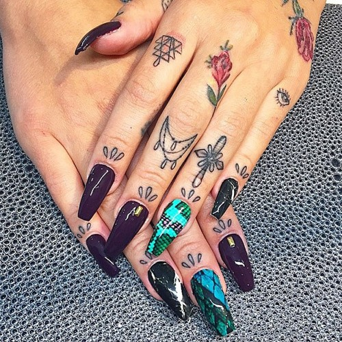 Lil Debbie Nails: Lil Debbie Black, Green Crackle, Decals, Nail Art