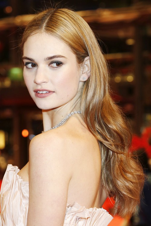 Lily James Straight Light Brown All Over Highlights