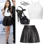 Madison Beer: Leather Skirt, Patent Sandals