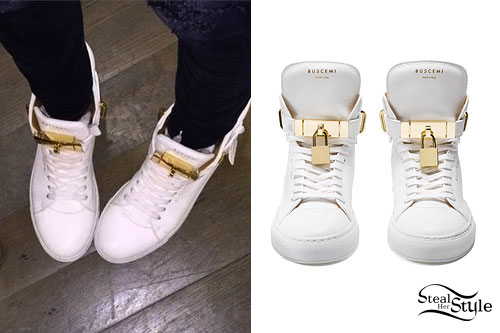 Madison Beer: White & Gold Sneakers