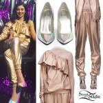 Marina Diamandis: Gold Ruffle Top & Joggers