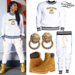 Mila J: White Sweatsuit, Lion Earrings