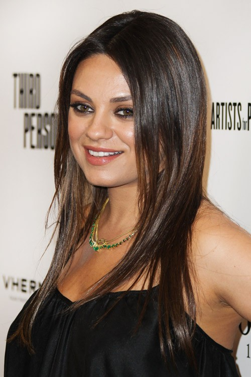 mila kunis straight dark brown angled flat ironed. Black Bedroom Furniture Sets. Home Design Ideas