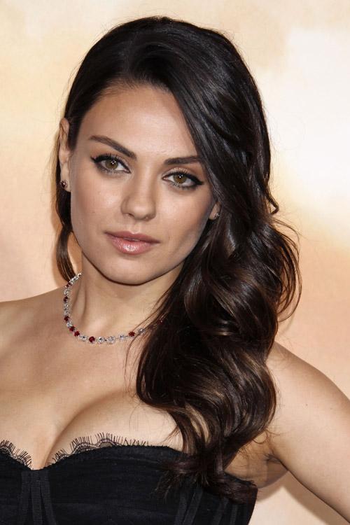 Mila Kunis Wavy Dark Brown Faux Sidecut Side Part