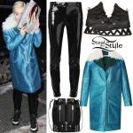 Miley Cyrus: Teal Glitter Coat, Vinyl Pants