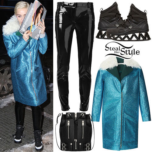 Miley Cyrus: Teal Glitter Coat, Vinyl Pants