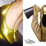 Miley Cyrus: Gold Heeled Ballet Shoes