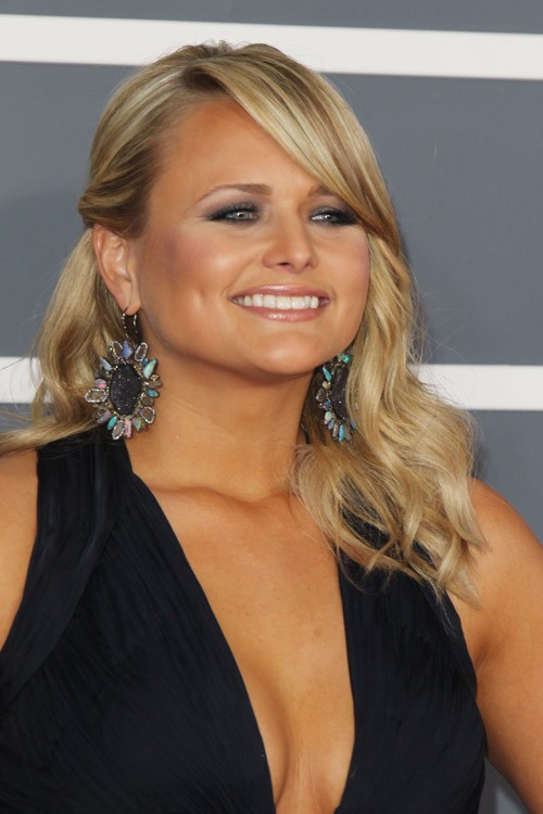 mixed curly hairstyles : Miranda Lambert Wavy Honey Blonde Pinned-Back, Side Part Hairstyle ...