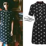 Natalia Kills: Black Paisley Shirt Dress