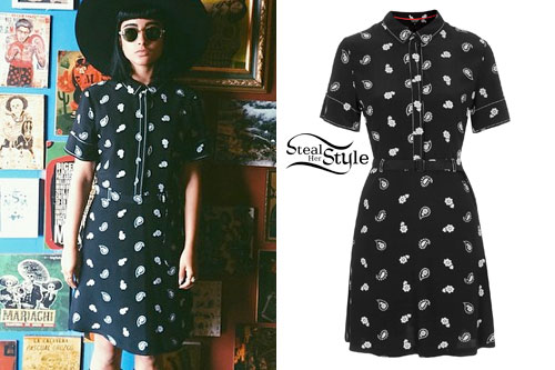 Natalia Kills: Black Paisley Shirt Dress