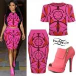 Nicki Minaj: Pink Crop Top & Skirt