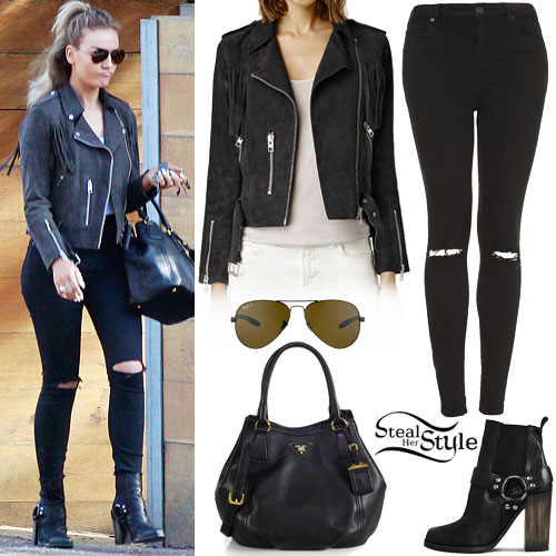 Perrie Edwards: Leather Jacket, Ripped Jeans