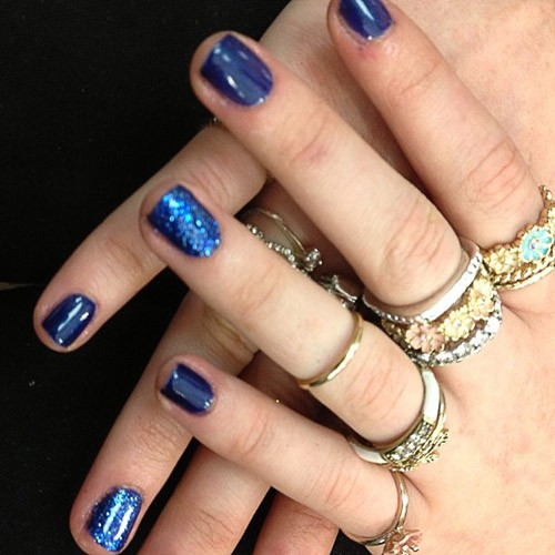 Perrie Edwards Navy Blue Glitter Nails | Steal Her Style