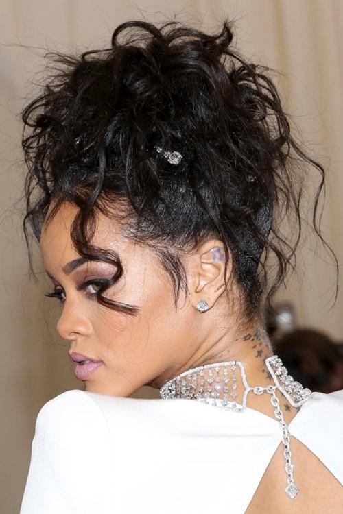 Rihanna Wavy Black Face Framing Pieces Updo Hairstyle