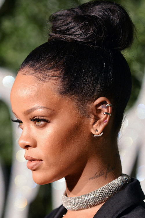 Rihanna Straight Black Bun Hairstyle Steal Her Style