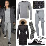 Rihanna: Gray Sweats, Fur Sandals