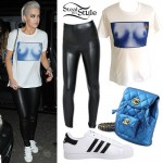 Rita Ora: Breasts Tee, White Sneakers