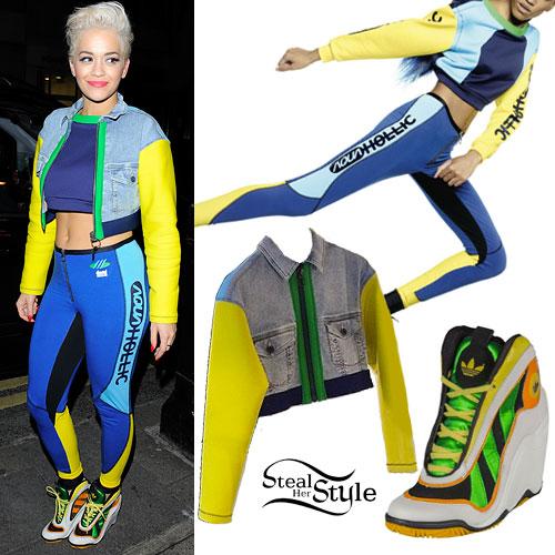 Rita Ora: Colorblock Jacket & Leggings