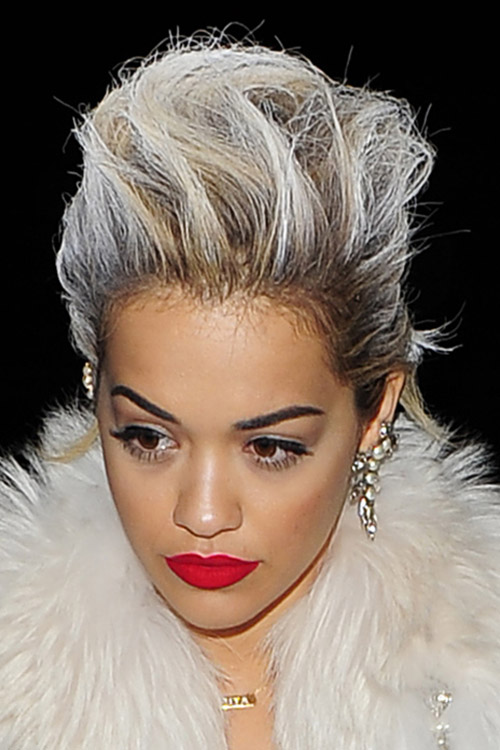 Rita Ora Straight Silver Dark Roots Mohawk Hairstyle