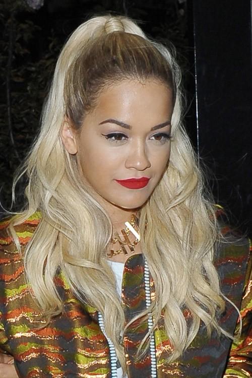Rita Ora Wavy Platinum Blonde Dark Roots High Ponytail