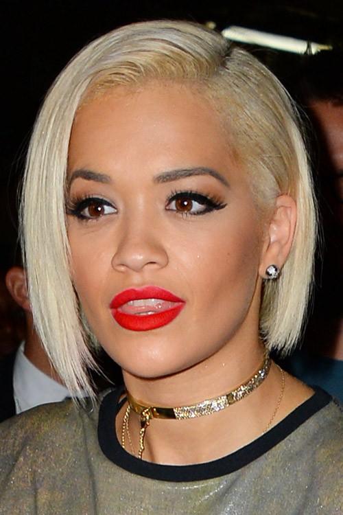 Rita Ora Straight Platinum Blonde Bob Hairstyle Steal