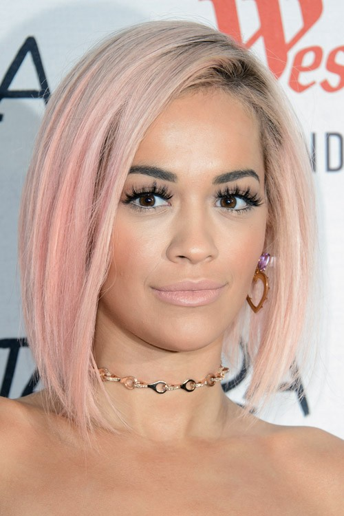 Rita Ora Straight Platinum Blonde Angled Bob Dark Roots Two Tone Hairstyle Steal Her Style