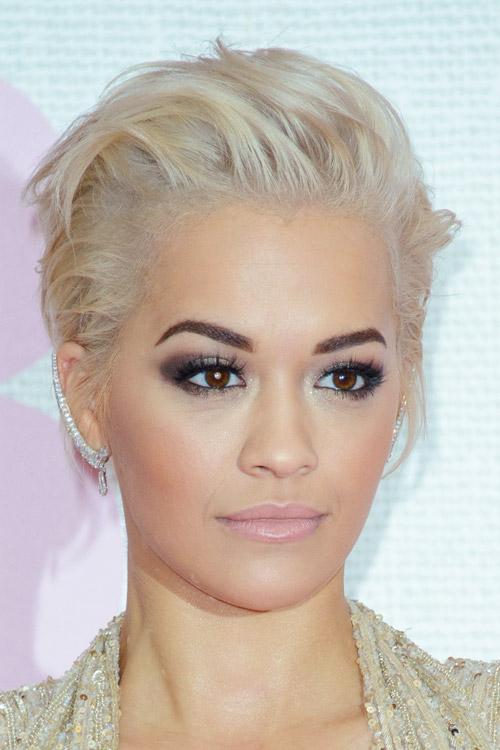 Rita Ora Straight Platinum Blonde Mohawk Undercut