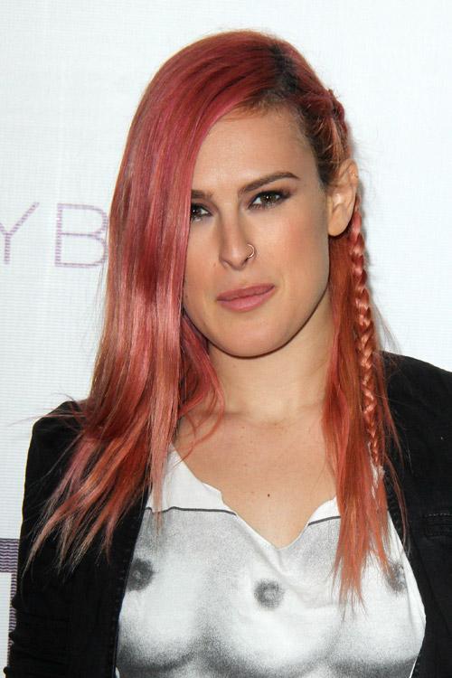 Rumer Willis Straight Pink Braid Flat Ironed Uneven