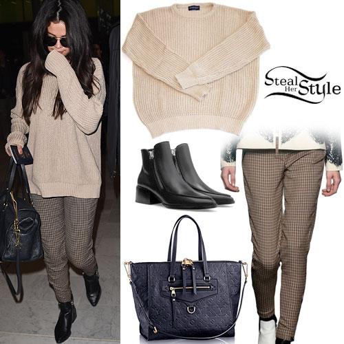 Selena Gomez: Beige Sweater, Checked Pants