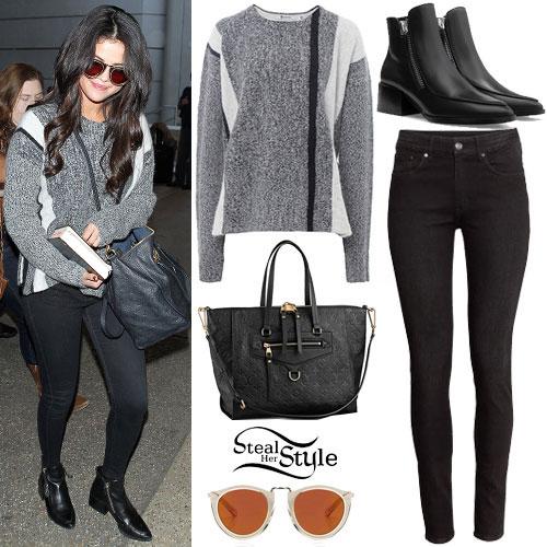 Selena Gomez: Grey Sweater, Zipper Boots