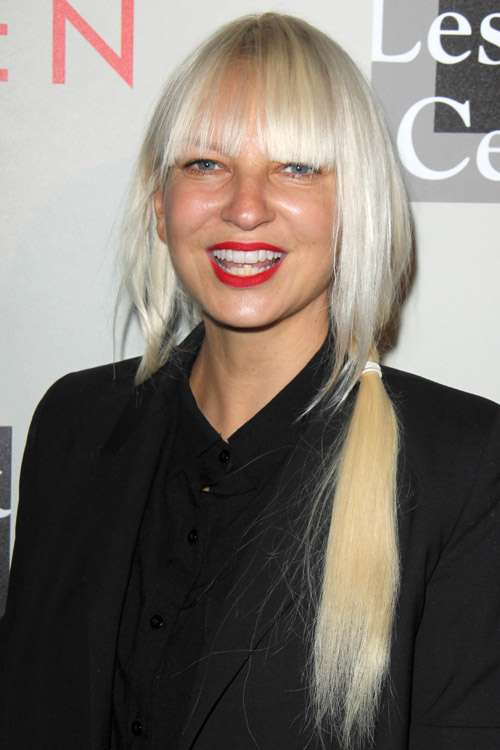 Sia Furler Straight Platinum Blonde Angled Low Ponytail