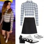 Sydney Sierota: Grid Print Top, Black Skirt