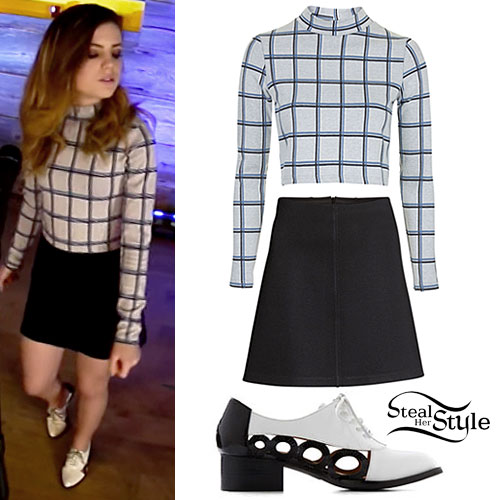 Sydney Sierota: Grid Print Top, Black Skirt