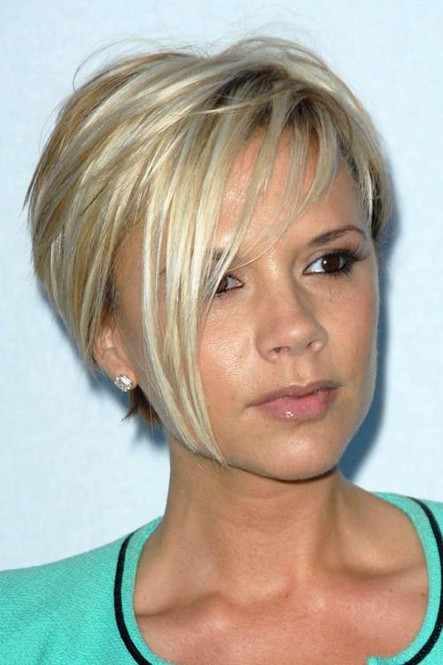 Victoria Beckham Straight Platinum Blonde Angled Bob