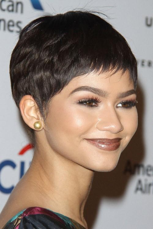 zendaya straight dark brown pixie cut wig hairstyle steal her style