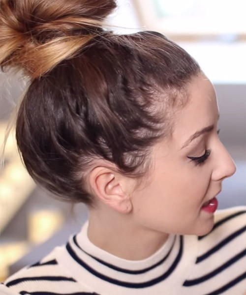 Zoella Straight Medium Brown Bun Ombré Hairstyle Steal Her Style - Hairstyle steal your girl