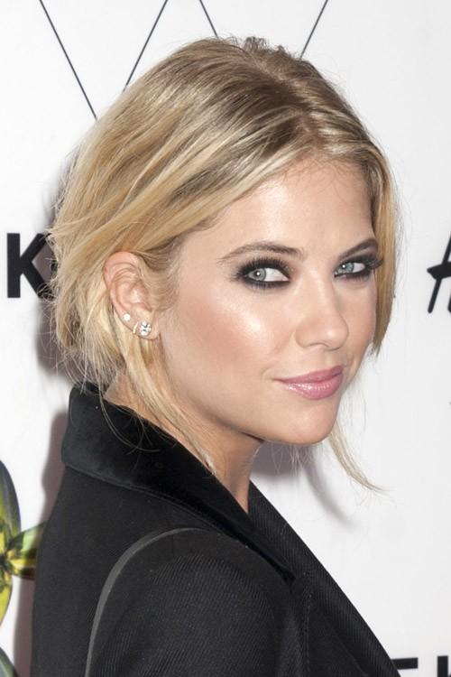 Ashley Benson Straight Ash Blonde Dark Roots Updo Hairstyle Steal