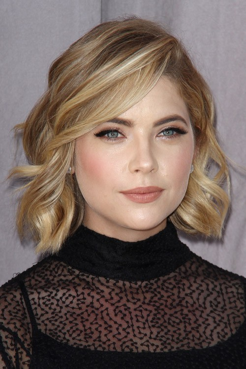 ashley benson wavy light brown allover highlights