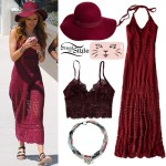 Bella Thorne: Burgundy Crochet Dress